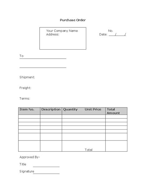purchase order template  format  word daily roabox