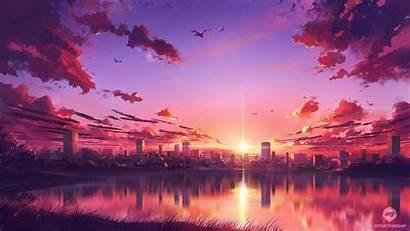 Sunset Anime Wallpapers Scene 4k Laptop Resolution