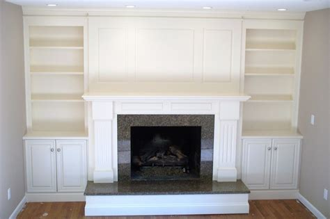 cabinets next to fireplace fireplace surround with shelving and cabinets by garyl
