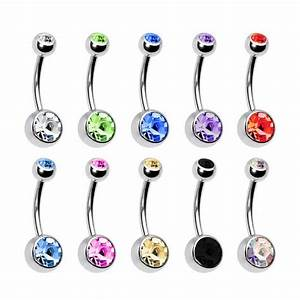 Women Surgical Steel Crystal Navel Belly Button Ring Bar ...