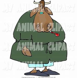 Clip Art of an Ill Male Cow Using a Common Mercury ...