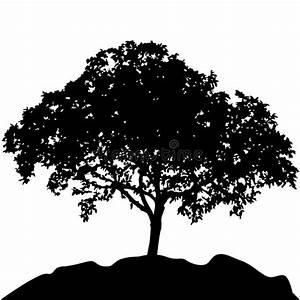 Tree At Hill Silhouette Vector Stock Vector - Illustration ...