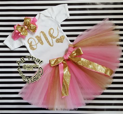 Pink And Gold One  Ee  Year Ee    Ee  Old Ee    Ee  Birthday Ee   Tutu Skirt Outfit