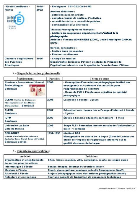 Les Modeles Des Cv by Curriculum Vitae En Francais Pour Enseignant