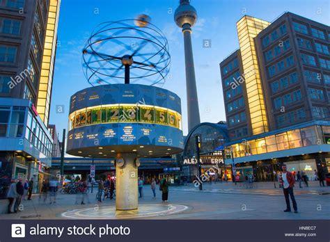world clock  alexanderplatz berlin stock photo