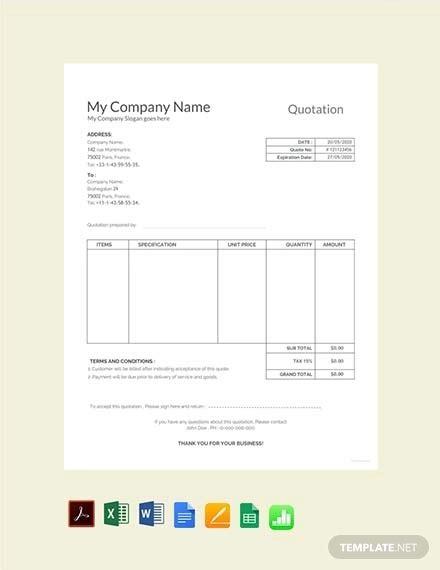 53 quotation templates pdf doc excel free premium