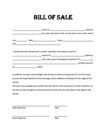Sle Of A Bill Of Sale For An Automobile by Sle Bill Of Sale Template