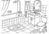 Bathroom Coloring sketch template
