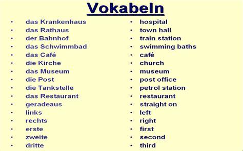 Vocabulary  Directions  Gcse German