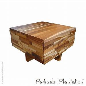 teak block wood coffee table padma39s plantation With teak block coffee table