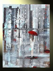 GICLEE PRINTS Art Abstract Painting Girl Red Umbrella City ...