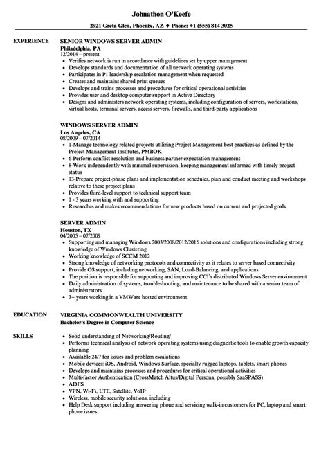 Admin Resume by Server Admin Resume Sles Velvet