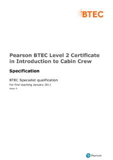 BTEC Specialist | Introduction to Cabin Crew (L2