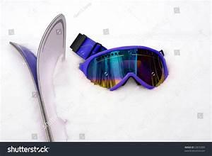 Hot Pink Ski Goggles Skis Snow Stock Photo 22672369 ...