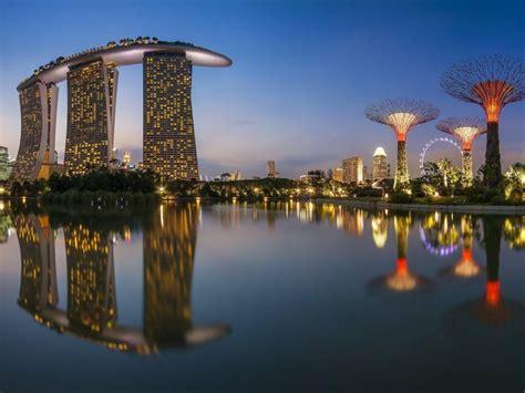 singapur morskie miasto budynki noc darmowe hd tapety na