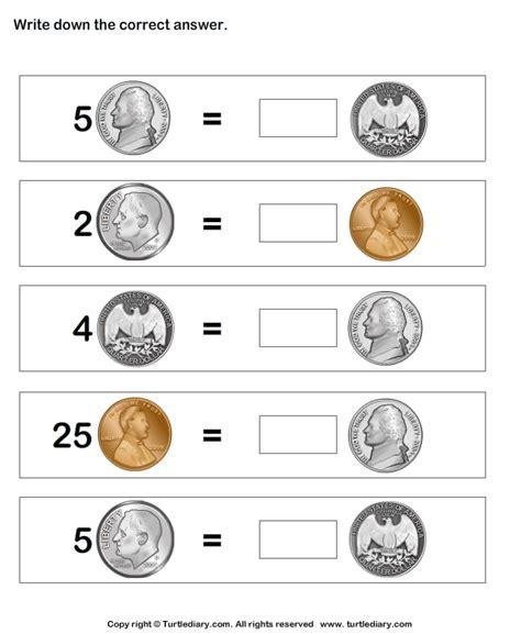 equal values  coins   numbers worksheet
