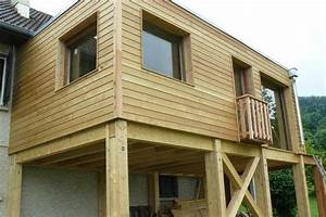 extension de maison a ossature de bois extension bois With agrandissement maison sur pilotis