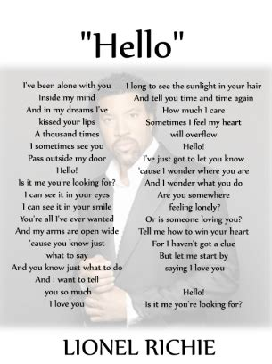 Lyrics generated using artificial intelligence. Free Printable Music Quotes. Give a like for Lionel Richie. #music | Great song lyrics, Hello ...