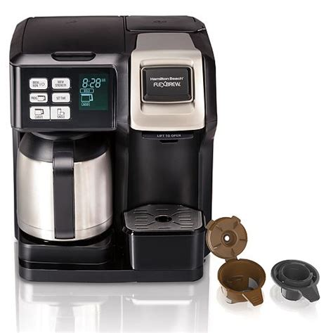 For a single cup, the brewer lets you add ground coffee directly into the mesh filter or you can insert your favorite pod. Hamilton Beach 2-Way FlexBrew Single Serve Coffee Maker ...