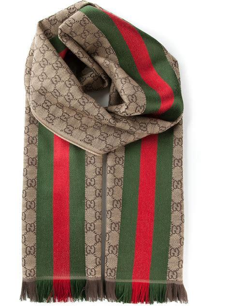 lyst gucci monogram scarf  brown  men