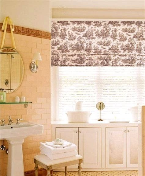 Toile Faux Roman Shade Chocolate Brown Lined Roman Valance