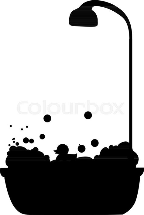 Black silhouette of bathtub with shower head full of