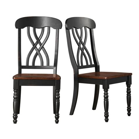 tribecca home mackenzie country black dining chair set of 2