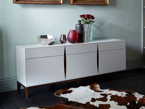 White And Walnut Sideboard by Stratford White And Walnut 2 Door 4 Drawer Wide