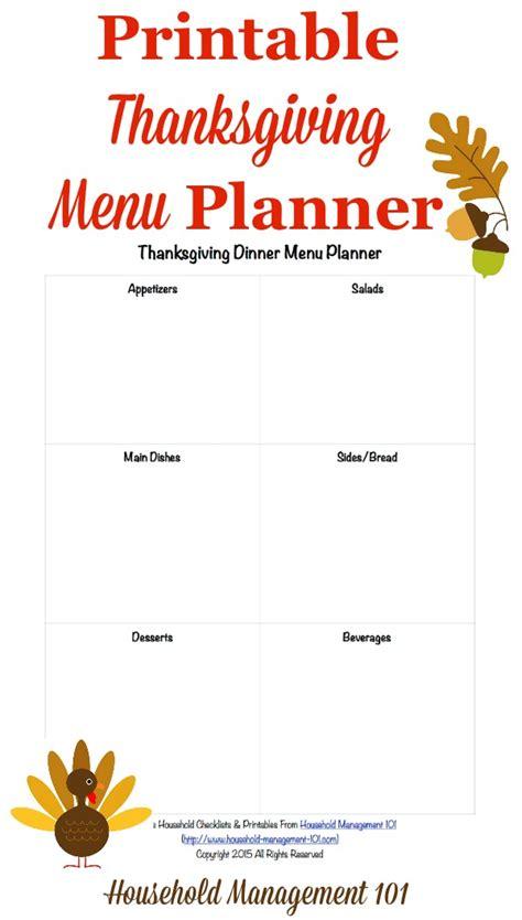 printable thanksgiving dinner menu planner