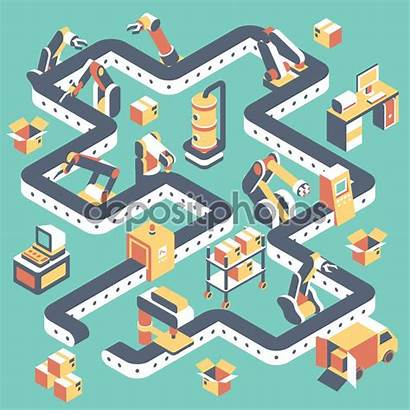 Line Production Factory Automated Vector Illustration Isometric