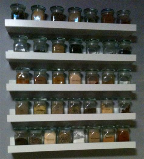 Spice Rack Glass Jars by Spice Rack Made With Ikea Ribba White Floating Ledges And