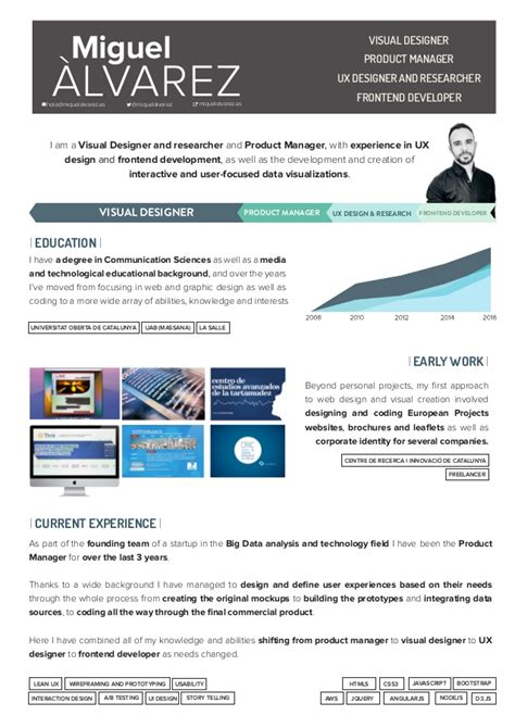 Ux Researcher Resume by Ux Researcher Resume Miguel Lvarez Cv Visual Designer Product Manager Ux Noah User