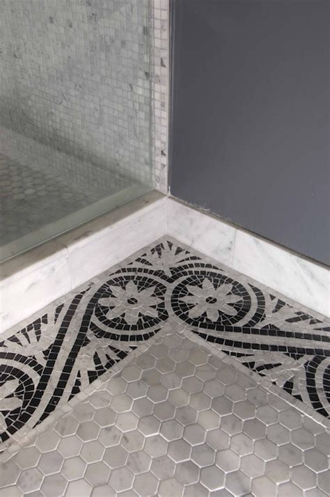 mosaic border tiles transitional bathroom artistic