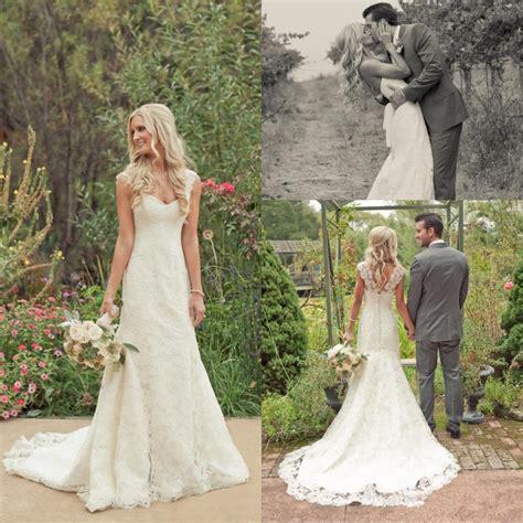 Vintage Style Lace Wedding Dresses Cap Sleeve Scoop Neck