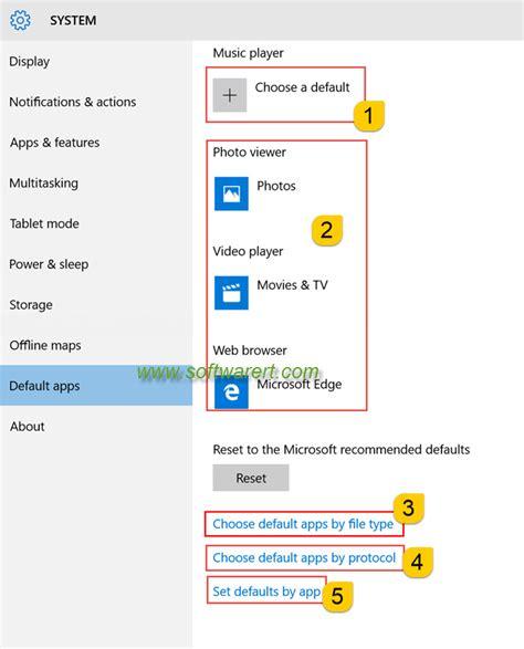 set or change default apps in windows 10