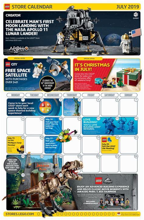 lego july  store calendar promotions   brick fan