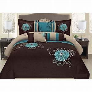 5, Pc, Brown, Teal, And, Taupe, Floral, Striped, Design, Twin, Size