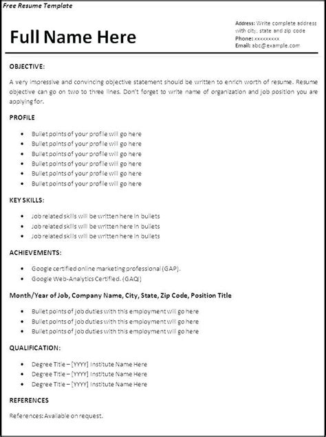 Resume Structure by Proper Resume Template Resume Layout Exle Resume
