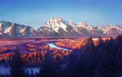 Mountain Landscape Fall Nature River Water Trees