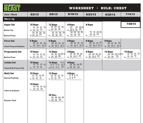 search results for beast tempo workout sheets