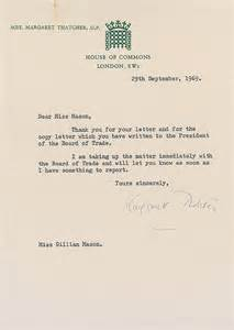 thank you letter prime minister margaret thatcher great britain typed 7904