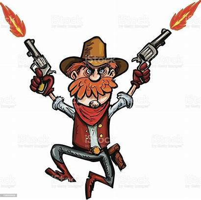 Cowboy Cartoon Shooting Guns Jumping Down Clipart