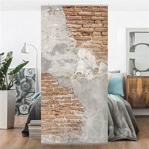 Wand Mit Steinoptik : raumteiler shabby backstein wand 250x120cm gardine mit ~ Watch28wear.com Haus und Dekorationen