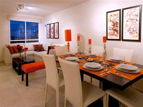 decoracion de sala comedor pequena en color naranja home