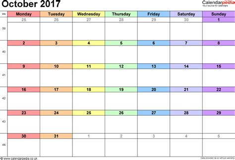 Calendar Template 2017 October 2017 Calendar Excel Weekly Calendar Template