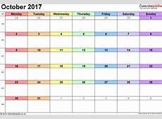 October 2017 Calendar Pdf weekly calendar template