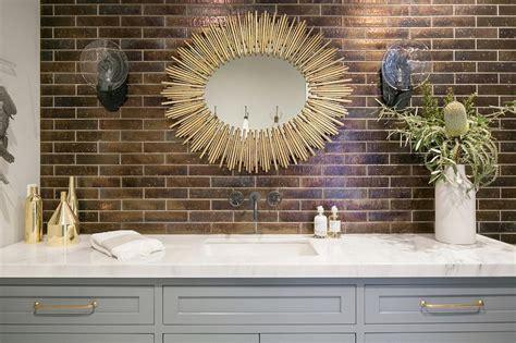 gray bathroom vanity  gold mirror transitional