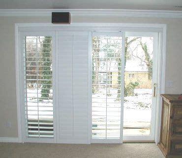 plantation shutters  sliding glass door  family