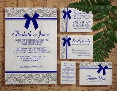 Royal Blue Country Lace Wedding Invitation Set/suite