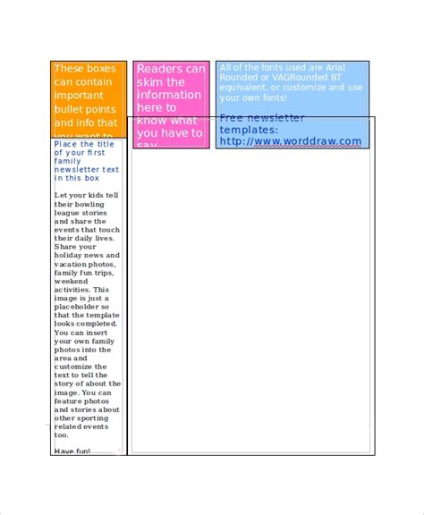 sample family newsletter template   documents